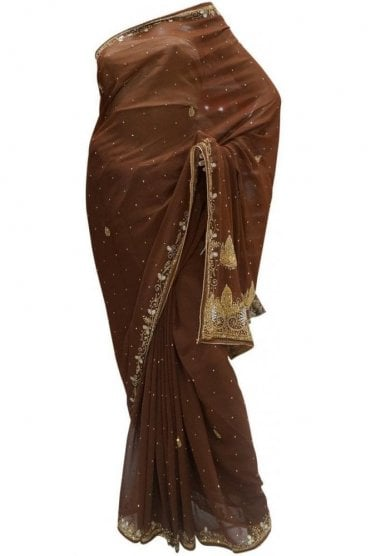 Stylish Coffee Brown, Silver and Gold Georgette Party Saree