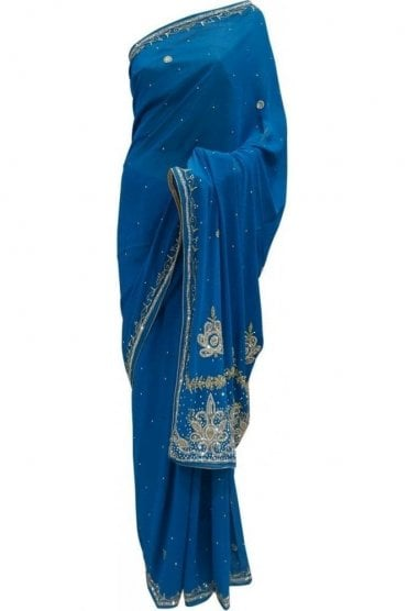 DES20057 Stunning Turquoise Blue & Gold Party Saree