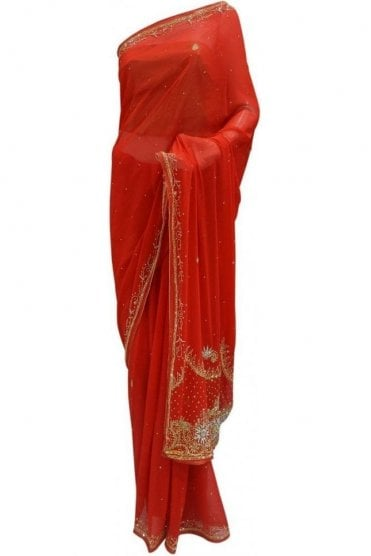 Contemporary Red, Silver and Gold Georgette Party Saree