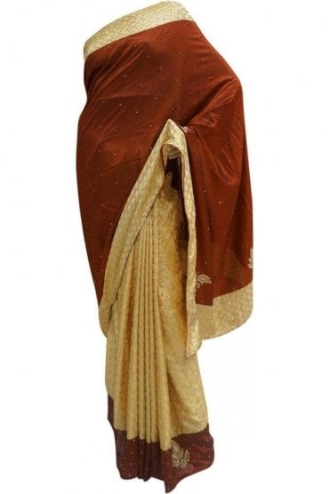 DES20063 Gorgeous Coffee Brown & Gold Party Saree