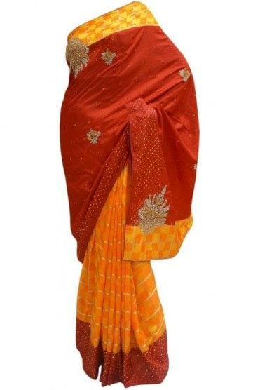 DES20067 Stylish Maroon & Mustard Yellow Party Saree