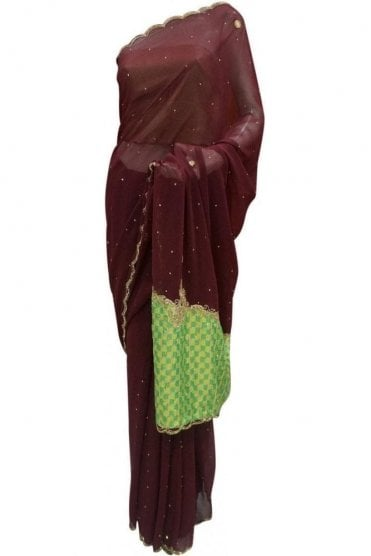 DES20069 Stylish Coffee Brown & Green Party Saree