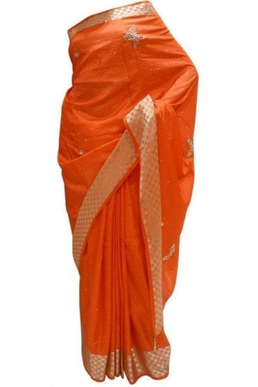 DES20082 Gorgeous Coral Red & Gold Party Saree