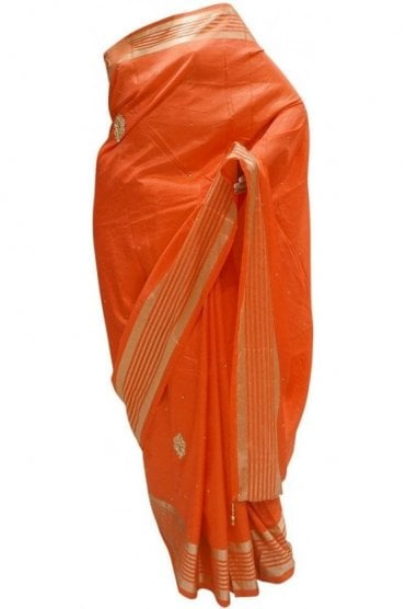 DES20085 Beautiful Coral Red & Gold Party Saree