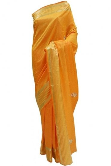 DES20089 Gorgeous Orange & Mustard Yellow Party Saree