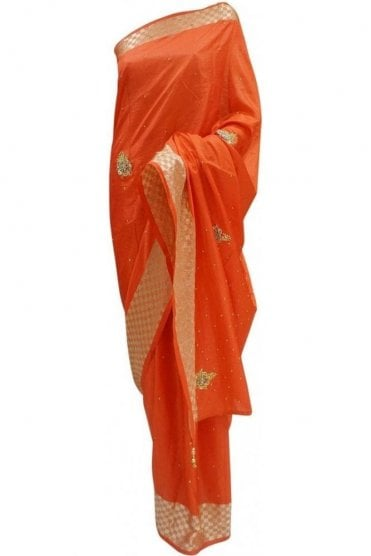 DES20091 Stylish Coral Red & Gold Party Saree