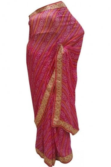Timeless Pink and Gold Bandhani Silk / Geogette Party Saree