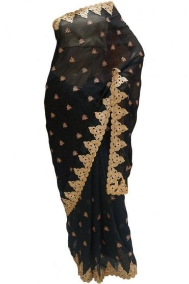 Contemporary Black and Gold Georgette Party Saree