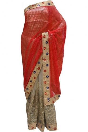DES20111 Gorgeous Coral Red & Gold Party Saree