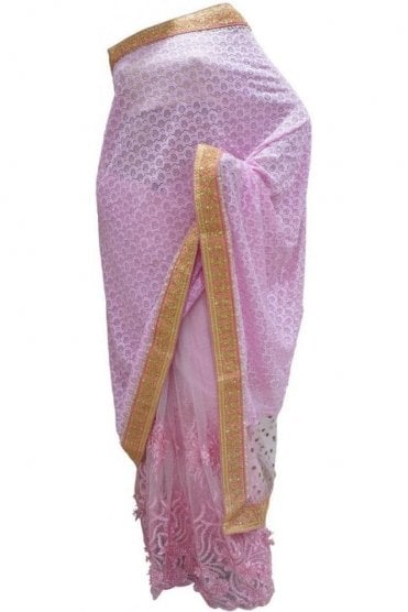 DES20116 Exquisite Baby Pink & Gold Party Saree