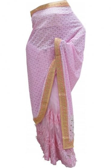 DES20117 Stunning Baby Pink & Gold Party Saree