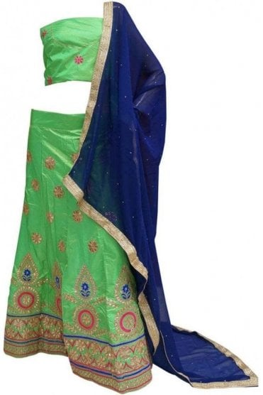 DCC20013 Stylish Green and Blue Party Wear Lengha (Semi- Stitched)