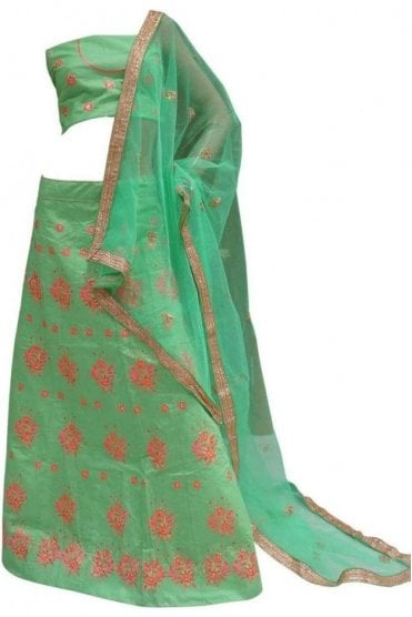 DCC20015 Beautiful  Green and Pink Party Wear Lengha (Semi- Stitched)