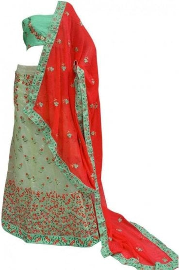 DCC20017 Exquisite Green and Pink Party Wear Lengha (Semi- Stitched)