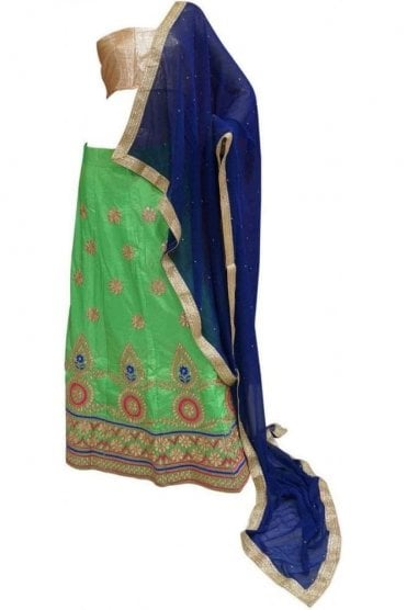 DCC20019 Stylish Green and Blue Party Wear Lengha (Semi- Stitched)