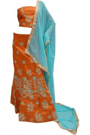 DCC20023 Exquisite Rust Orange and Blue Party Wear Lengha (Semi- Stitched)