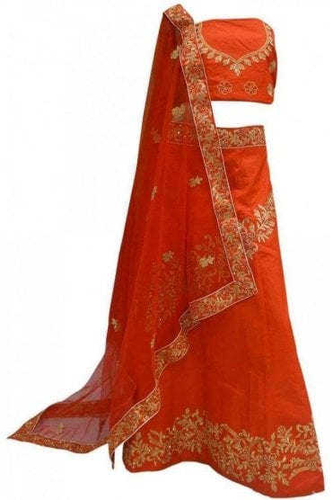 DCC20033 Beautiful  Red and Gold Party Wear Lengha (Semi- Stitched)