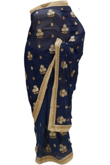DES20119 Eye Catching Navy & Gold Party Saree