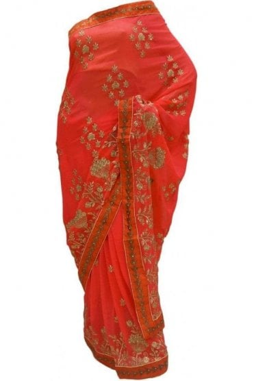 DES20126 Exquisite Pink/ Red & Gold Party Saree