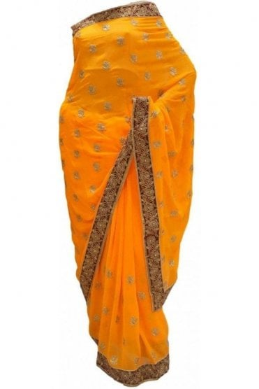 DES20135 Lovely Yellow & Burgundy Party Saree