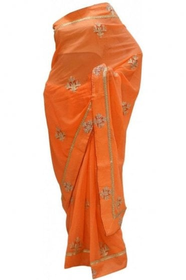 DES20140 Stunning Orange & Gold Party Saree