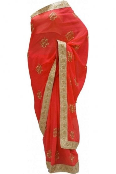DES20144 Elegant Pink & Gold Party Saree