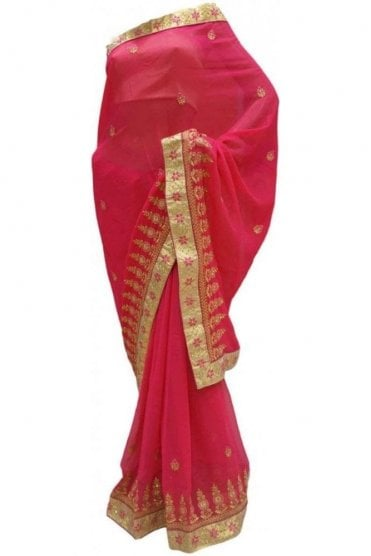 DES20147 Beautiful Pink & Gold Party Saree