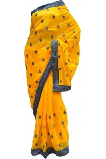 DES20174 Stunning Yellow & Silver Party Saree