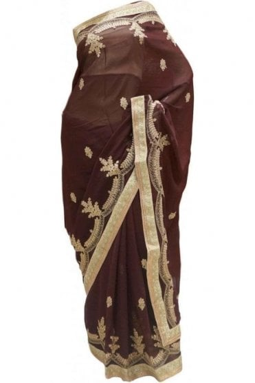 Glamourous Gold and Brown Georgette Party Saree