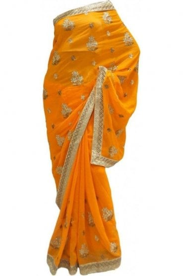 DES20188 Gorgeous Mustard Yellow & Gold Party Saree