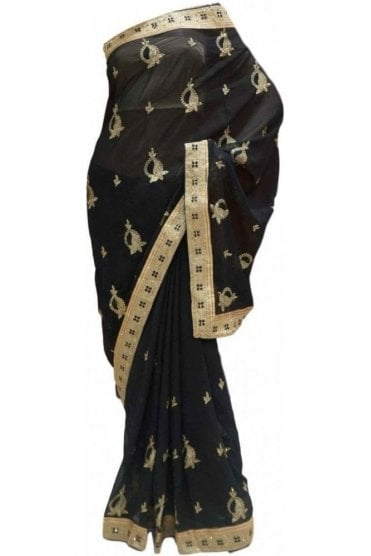 Elegant  Black and Gold Georgette Party Saree