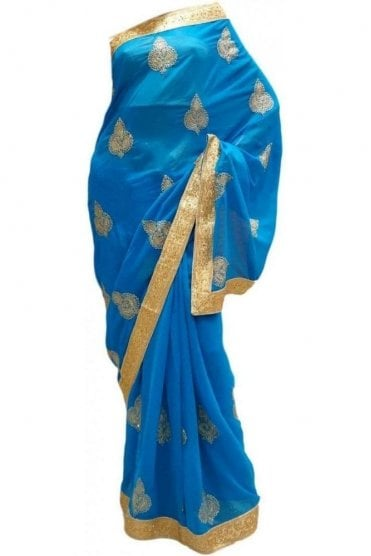 DES20201 Stunning Blue & Gold Party Saree