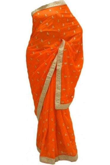 DES20204 Elegant Orange & Gold Party Saree