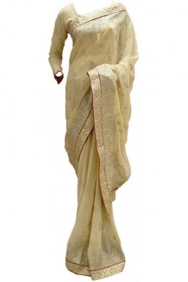 RBS20001 Beige and Maroon Faux Chiffon Saree