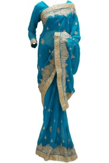 RBS20002 Turquoise Blue and Gold Faux Chiffon Saree