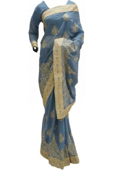 RBS20003 Grey and Gold Faux Chiffon Saree