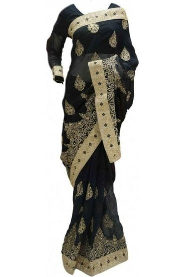 RBS20004 Black and Gold Faux Chiffon Saree
