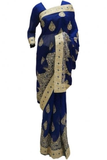 RBS20005 Navy Blue and Gold Faux Chiffon Saree