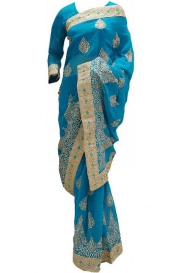RBS20007 Turquoise Blue and Gold Faux Chiffon Saree