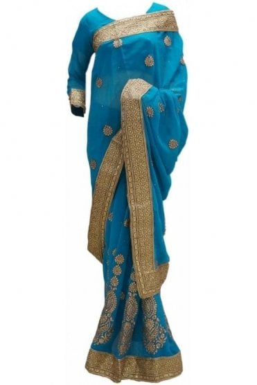 RBS20009 Turquoise Blue and Gold Faux Chiffon Saree
