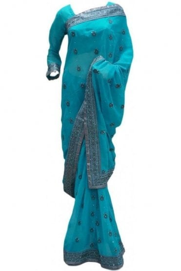 RBS20014 Turquoise Blue and Silver Faux Chiffon Saree
