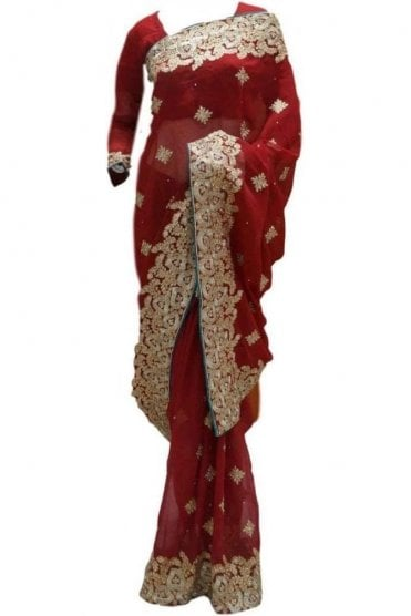 RBS20015 Maroon and Gold Faux Chiffon Saree