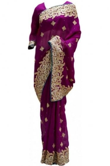 RBS20016 Purple and Gold Faux Chiffon Saree