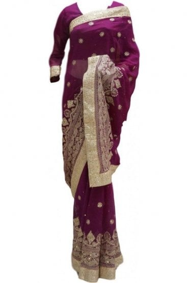 RBS20018 Purple and Gold Faux Chiffon Saree