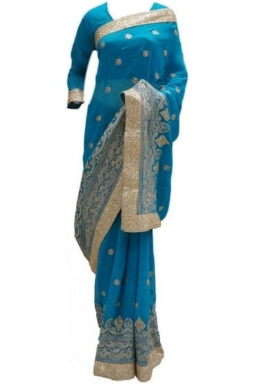 RBS20021 Turquoise Blue and Gold Faux Chiffon Saree