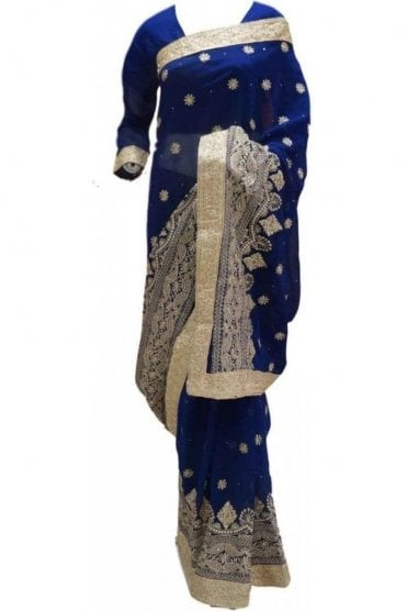 RBS20022 Navy Blue and Gold Faux Chiffon Saree