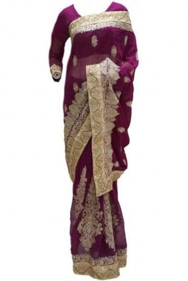RBS20026 Purple and Gold Faux Chiffon Saree