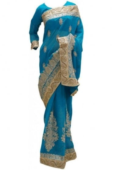 RBS20028 Turquoise Blue and Gold Faux Chiffon Saree