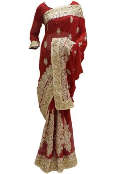 RBS20033 Red and Gold Faux Chiffon Saree