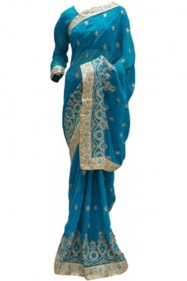RBS20038 Turquoise Blue and Gold Faux Chiffon Saree